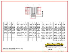"24-48"" Dual Wall Reducing Tee - Plain End External"