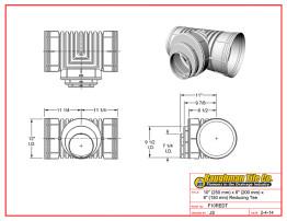 "10"" (250 mm) x 8"" (200 mm) x 6"" (150 mm) Reducing Tee"