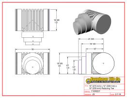 "15"" (375 mm) x 12"" (300 mm) x 10"" (250 mm) Reducing Tee"