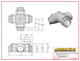 "6"" (150 mm) x 5 (125 mm) x 4 (100 mm) Reducing Cross Tee"