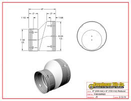 """8"""" (200 mm) x 6"""" (150 mm) Reducer"""