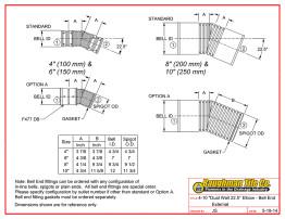 "4-10"" Dual Wall 22.5° Elbow - Bell End External"