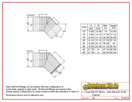 """Dual Wall 45° Elbow - Inline Bell End 12-48"""" External"""